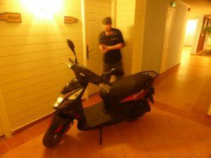Bean's bike in the hotel corridor...