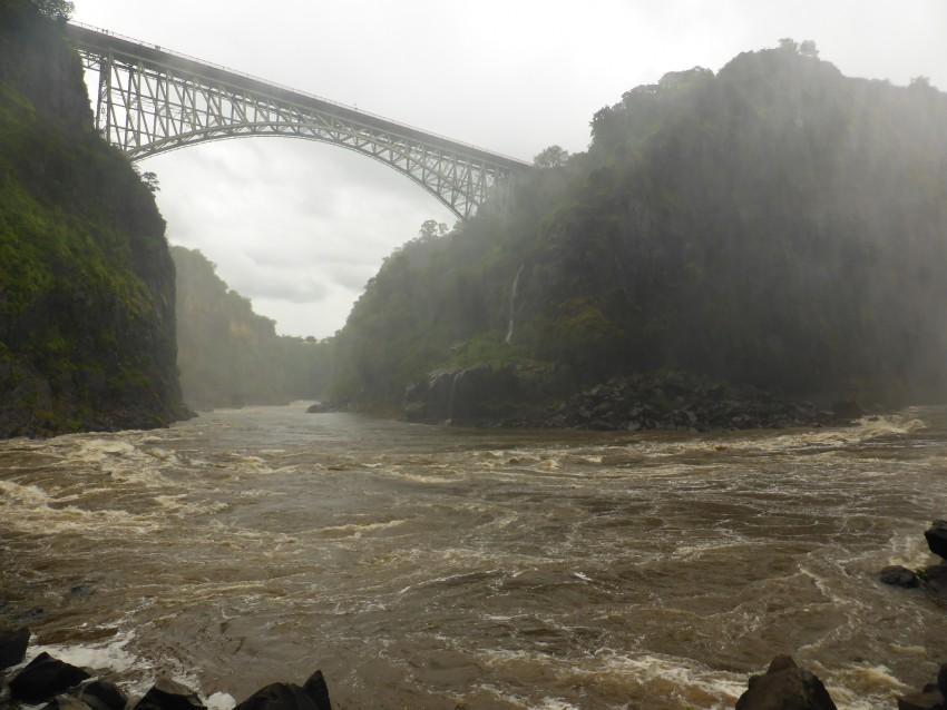 The Friendship Bridge between Zambia and Zimbabwe.
