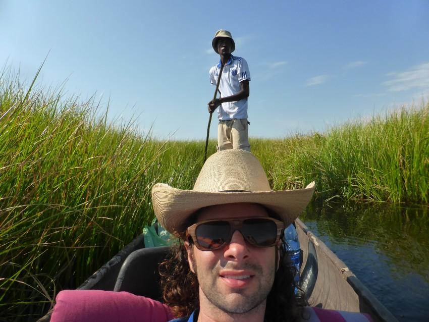 Keinayang poling to get us through the Okavango Delta.