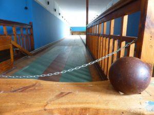 Wooden bowling balls.