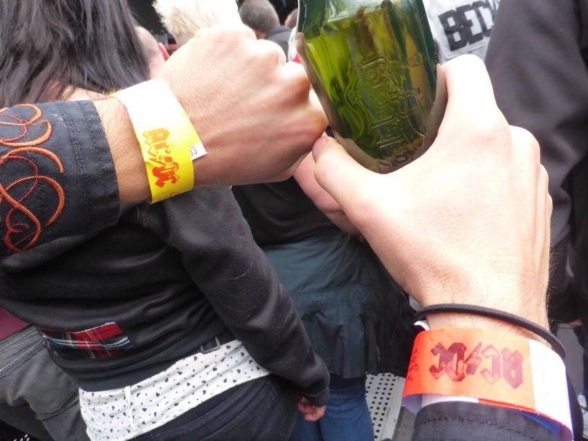 Double-Fisting AC/DC floor bracelets.