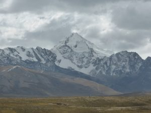Huayna Potosi, the mountain we were about to climb, lurking ahead and scaring us.