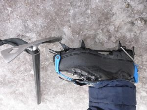Crampons and ice axe.
