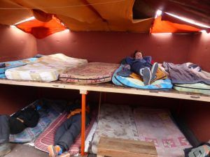 Our sleeping quarters for a few hours before our 1am resume climb.