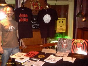 Getting my merchandise table ready before getting ready for the show.