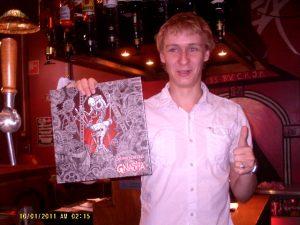Proud vinyl buyer bartender.