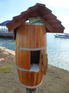 The Bahia Post Office barrel in Isla Floreana, Galapagos Islands.