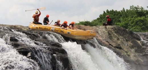 Whitewater rafting the Nile River through Nalubale