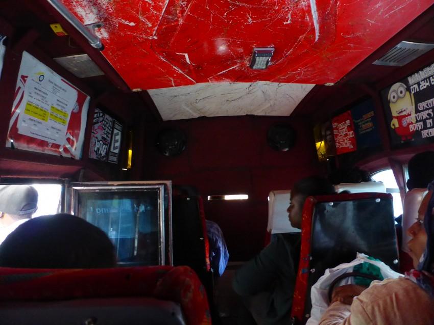 The inside of a matatu.