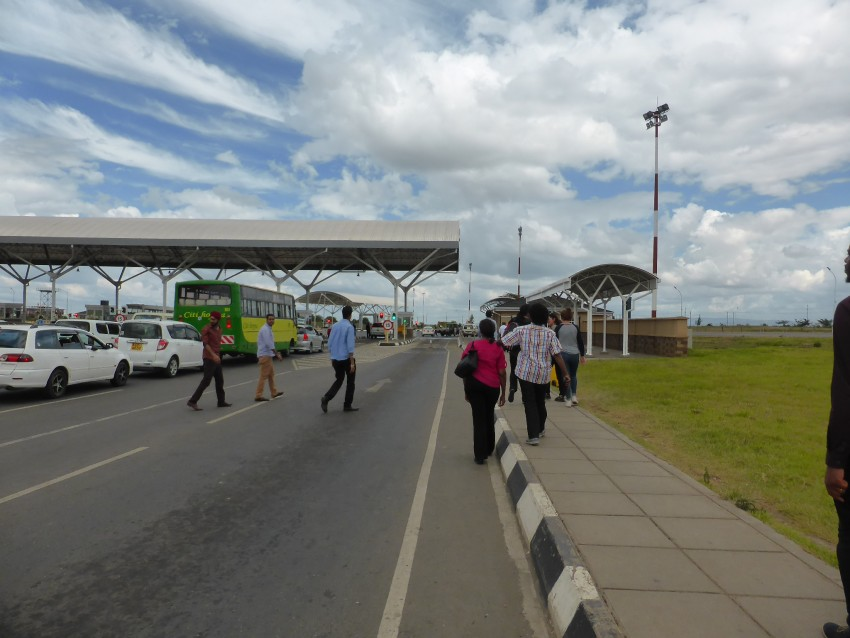 At a security check-point along a Kenyan highway.