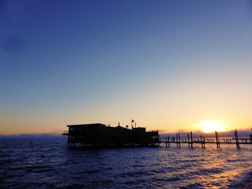 Sunset on the Walvis Bay lagoon.