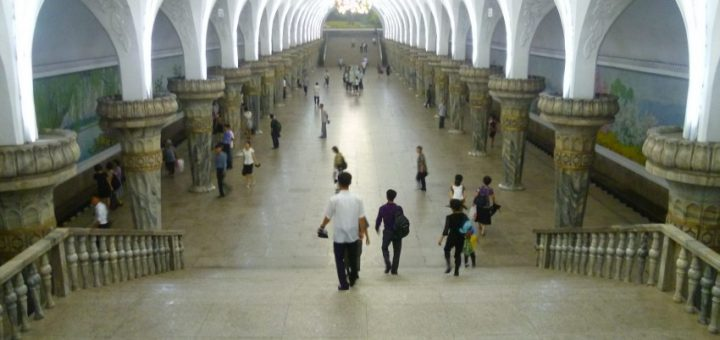 The beautiful metro system of Pyongyang looks more like a opera house.
