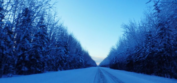 Driving from the Northwest Territories to Alberta.
