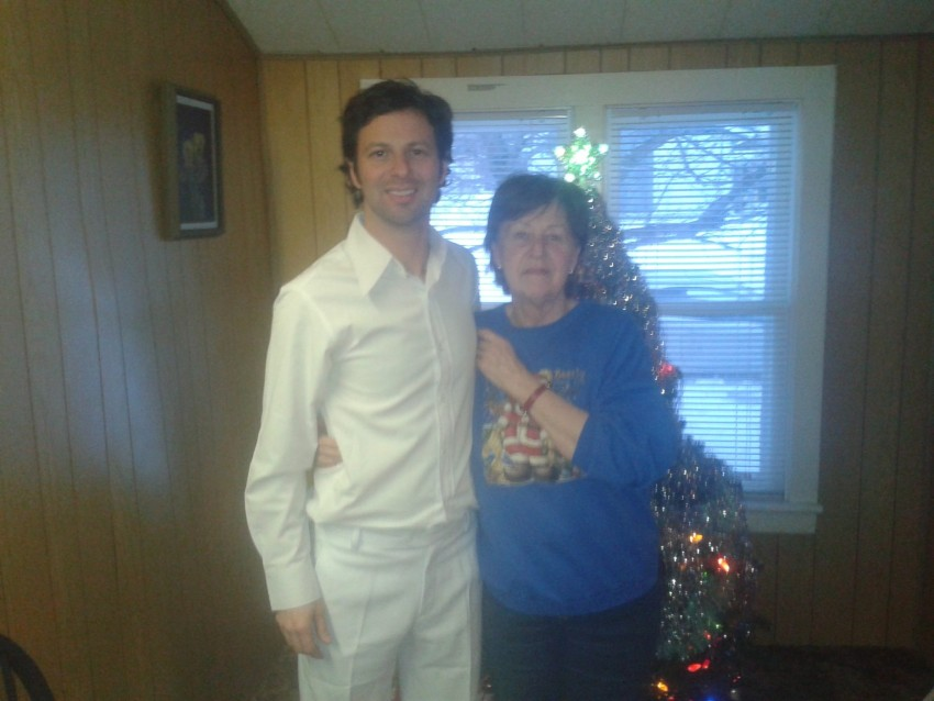 Mom and I during Christmas 2013. I wore a white suit to meet her for Christmas. I wanted to dress nice after not being home for a Christmas in 10 years.