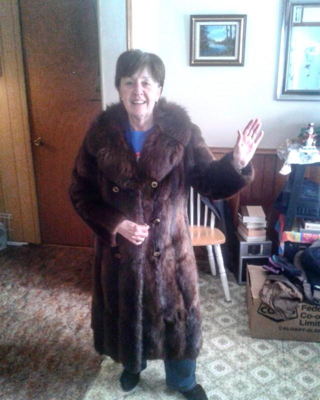 Mom in my fur coat, Christmas 2013.