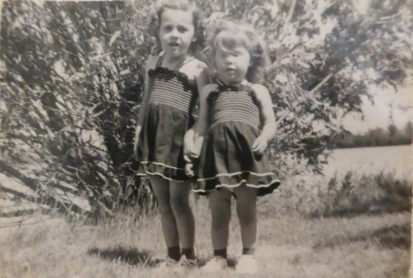 Mom on the left and her sister Sharon on the right in 1950.