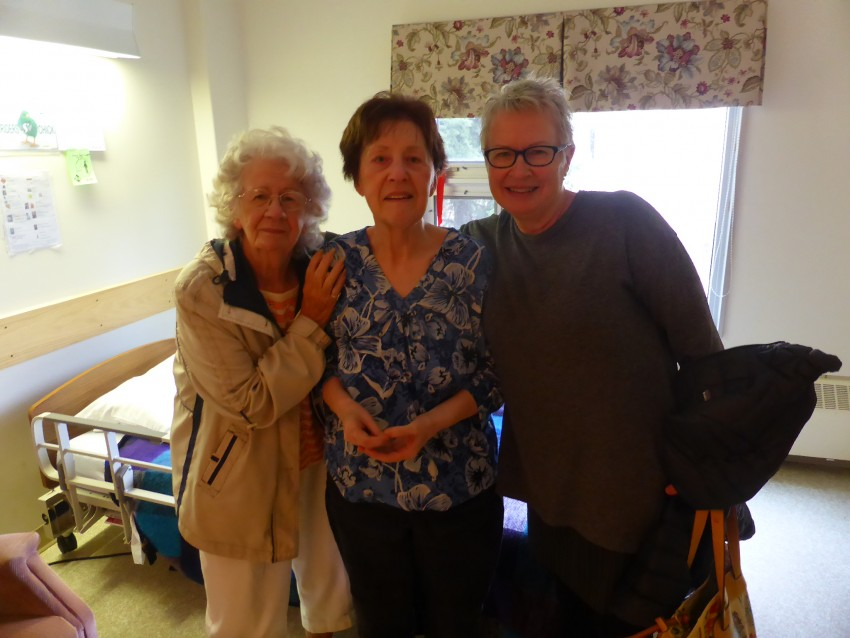 September 2016. Grandma Myrtle, Mom, and Sandi. This is my last photo of mom where she looks somewhat healthy.