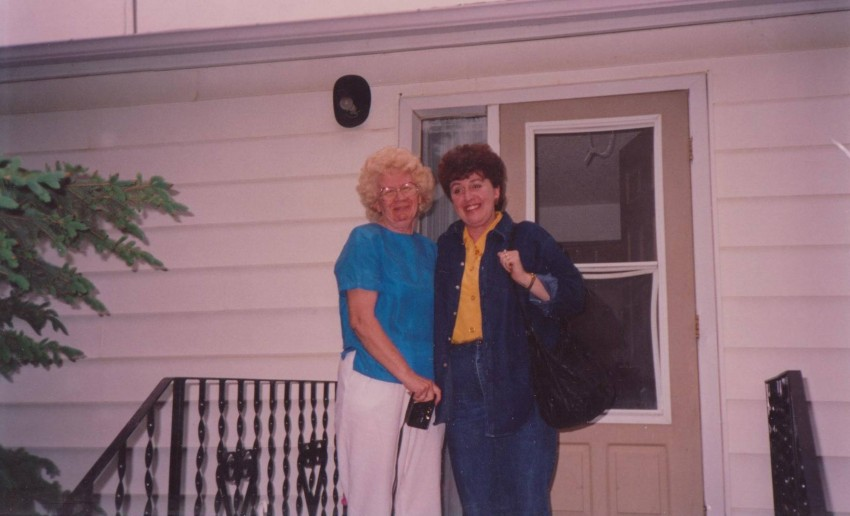 Grandma Myrtle and mom somewhere in the early 1990's.